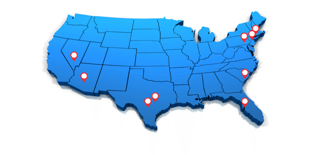 map of the united states with location pins