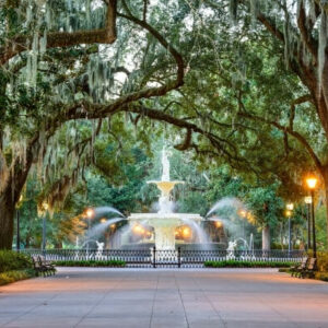 arched trees over fountain in Savannah Georgia